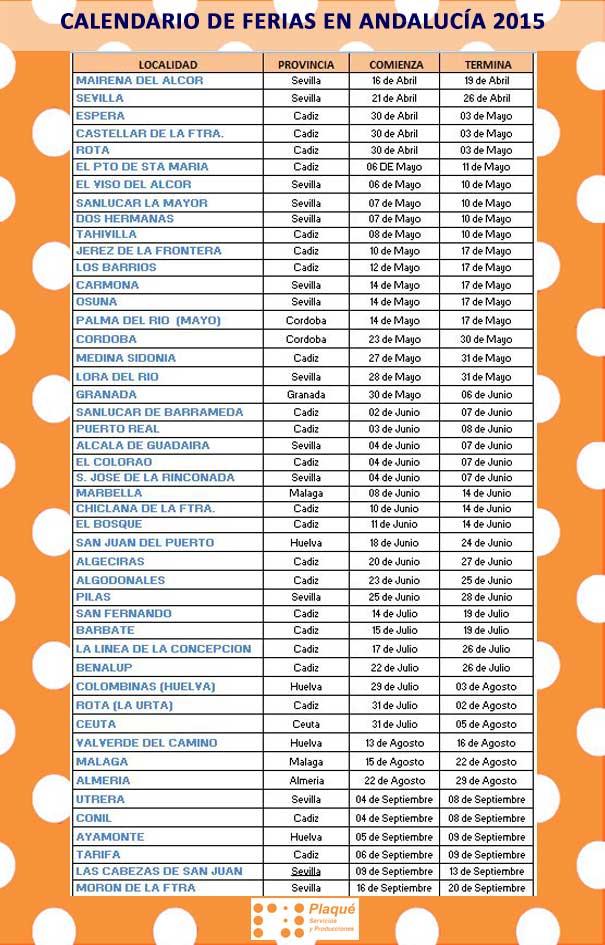 Calendario de ferias en andaluc a 2015 for Calendario ferias